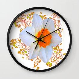 SPRING DAFFODIL SCROLLS ART GARDEN PATTERN Wall Clock