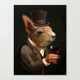 Sophisticated Pet -- Sqirrel in Top Hat with glass of wine Canvas Print