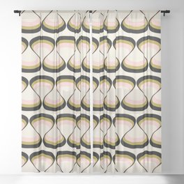 Olive Green, Pink, and Black Retro Wavy Line Pattern Sheer Curtain