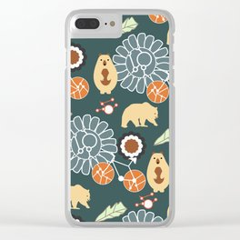 Bikes, bears and flowers Clear iPhone Case