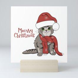 Cat Lover's Meowy Christmas Santa Cat Mini Art Print