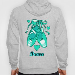 Love to Dance Teal Ballet Shoes Hoody