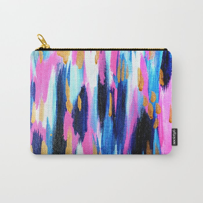 Spring Golden - Pink and Navy Abstract Carry-All Pouch