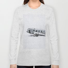 Plane Wreck in Iceland in Winter - Landscape Photography Minimalism Long Sleeve T-shirt