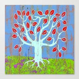 Tree of life, colourful naive style art print Canvas Print