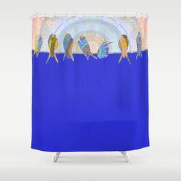 Bird Rise Minimal Oil Painting Shower Curtain