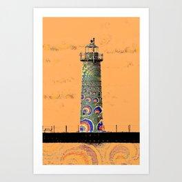 """""""Whimsical Lighthouses"""" - Orange Sherbert & Swirls - Muskegon Lights Art Print"""