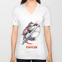 tmnt V-neck T-shirts featuring TMNT by Linartist