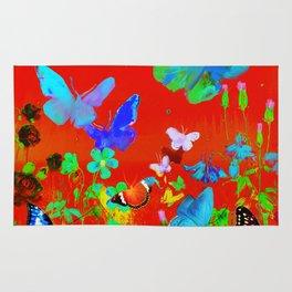 Red Butterflies & Flowers Rug