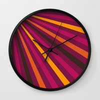 1d Wall Clocks featuring Rays 1d by Patterns of Life