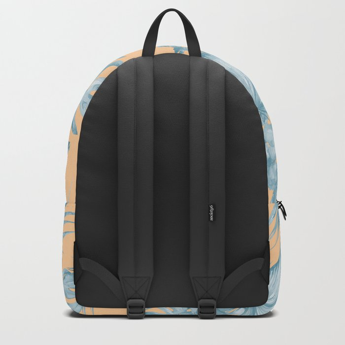 Ocean Blue Palm Leaves on Coral Apricot Backpack