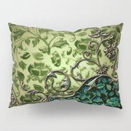Wonderful floral design, green colors Pillow Sham