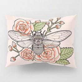 Cicada with Roses - Pink Pillow Sham