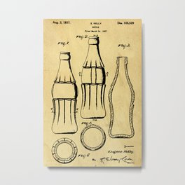 Bottle Support Patent Drawing From 1937 Metal Print