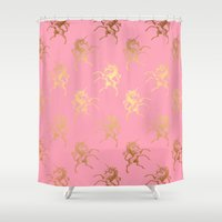 bisexual Shower Curtains featuring Golden Unicorns on rose quartz pattern by Better HOME