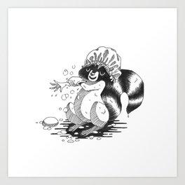 Raccoon Shower Art Print