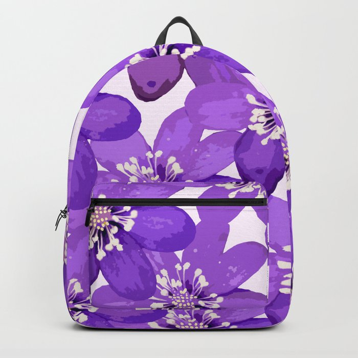 Purple wildflowers on a white background - spring atmosphere Backpack