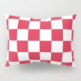 Red, Cherry: Checkered Pattern Pillow Sham