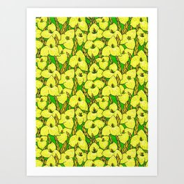Puya Flowers, Floral Pattern, Green Yellow Art Print