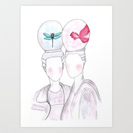 girls with imaginary animals in their heads Art Print