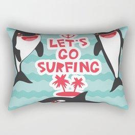 Lets go surfing, Kawaii orca Rectangular Pillow