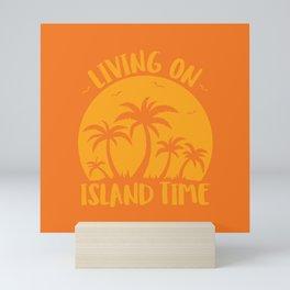 Living On Island Time Palm Trees And Sunset Mini Art Print