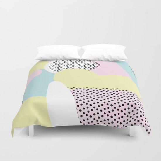Candy Pink Blue Blobs & Dots Pattern Duvet Cover