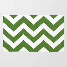 Sap green - green color - Zigzag Chevron Pattern Rug