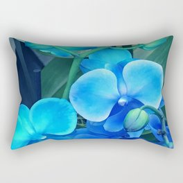 Chic 'Butterfly Wings' Blue Orchids With Aqua Accents Rectangular Pillow