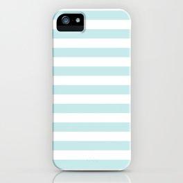 Duck Egg Pale Aqua Blue and White Wide Horizontal Beach Hut Stripe iPhone Case