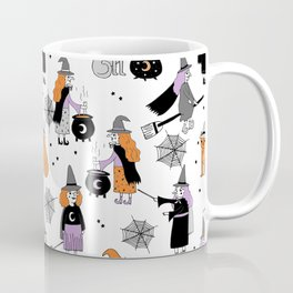 Witches halloween pattern cute cat cauldron broomsticks magic spells Coffee Mug