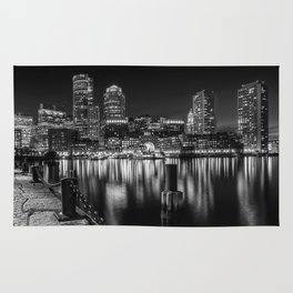 BOSTON Fan Pier Park & Skyline at night   monochrome Rug