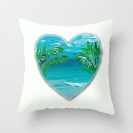 Florida, beach with palms~Ocean Love Throw Pillow