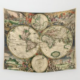 1689 Map of the World by Gerard van Schagen Wall Tapestry