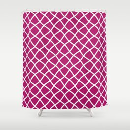 Berry pink and white curved grid pattern Shower Curtain