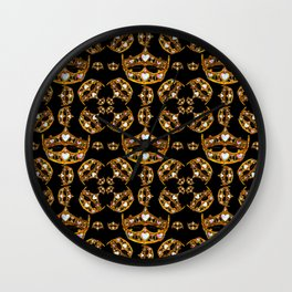 Queen of Hearts gold crown tiara scattered pattern by Kristie Hubler with black background Wall Clock