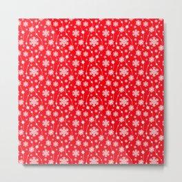 Christmas Red Snowflake Pattern Metal Print