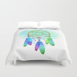 Dream  catcher, feathers and mandala boho. Dreamcatcher. Duvet Cover