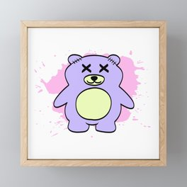 Colorful Tee For the Gothic You With Illustration Of A Bear T-shirt Design Stitching Stuffed Toys Framed Mini Art Print