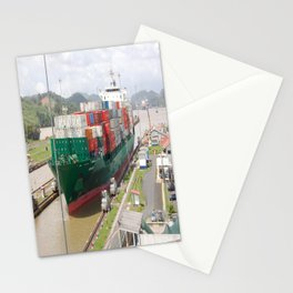 A cargo ship crossing the Miraflores locks at the Panama Canal Stationery Cards