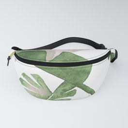 Tropical Leaves Green And Pink Fanny Pack