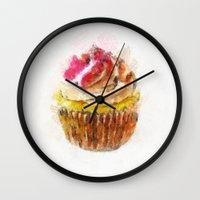 cupcake Wall Clocks featuring Cupcake by Manuela Mishkova