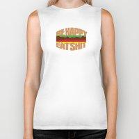 hamburger Biker Tanks featuring Hamburger by WAMTEES