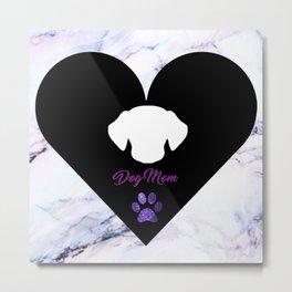 Dog Mom on Purple Marble Metal Print