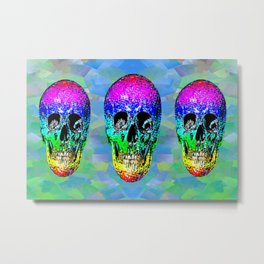 Skull disco rainbow Metal Print