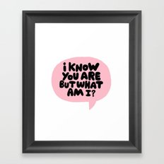 i know you are but what am i? Framed Art Print