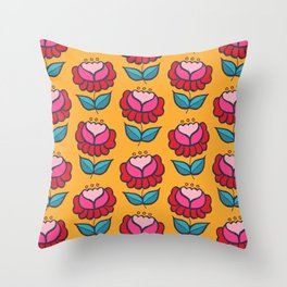 Floral mix yellow background Throw Pillow