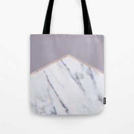 Smokey lilac - rose gold geometric marble Tote Bag