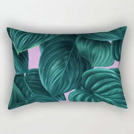 tropical green pattern on pink Rectangular Pillow