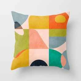 mid century abstract shapes spring I Throw Pillow